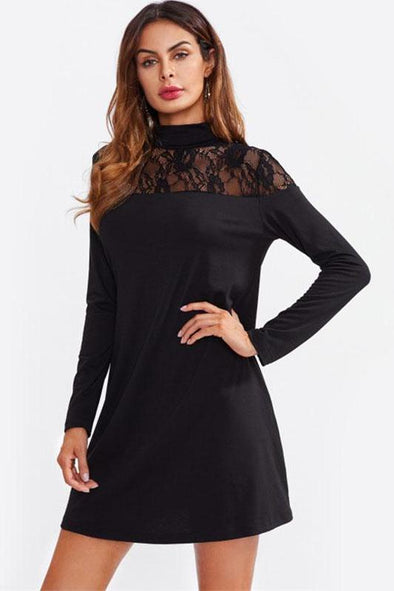 Sheer Lace Yoke Straight Tee Black High Neck Fashion Dress | TeresaClare