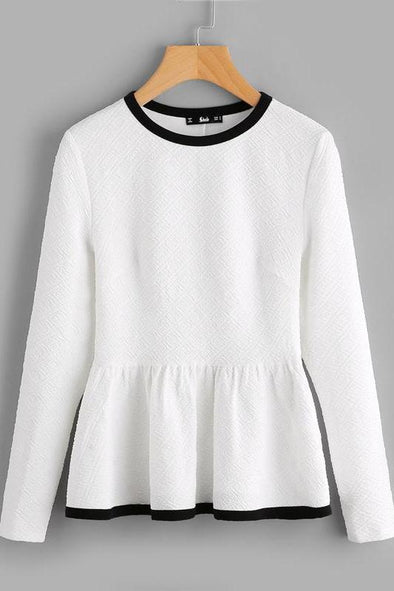 SHEIN Contrast Binding Textured Peplum Shirt White Women Tops Blouses Autumn Long Sleeve Elegant Fall 2017 Fashion Blouse | TeresaClare