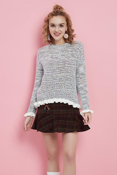 Short Knitted Pullovers Fungus Edge Long Sleeve Sweater | TeresaClare