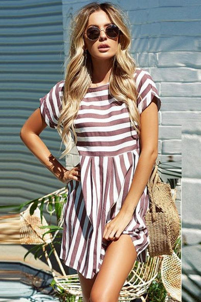 Short Sleeve Mini Length O-Neck Fashion Dress With Stripe Patterns | TeresaClare