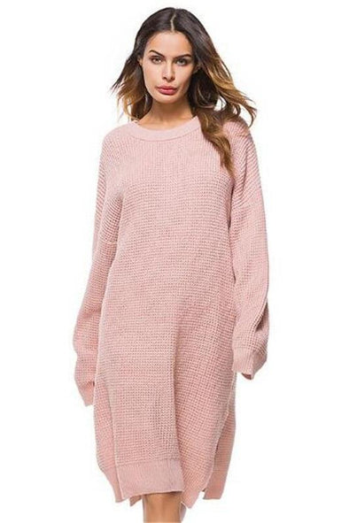 Side Split Knitted Long Sleeve Sweater Dress | TeresaClare