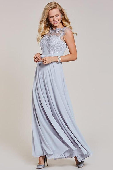 Silver Appliques A-Line Silver Bow Cap Sleeves Evening Dress | TeresaClare
