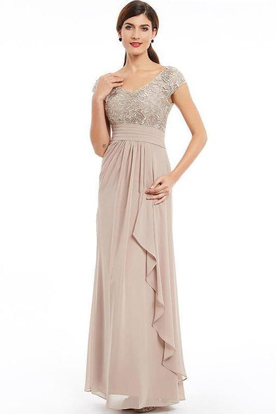 Silver Cap Sleeves Champagne Floor Length Ruched Evening Dress | TeresaClare