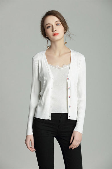 Single Breasted Slim Cardigans Deep V-neck Knitted Sweater | TeresaClare