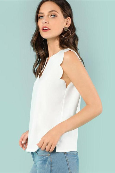 Sleeveless V-Neck Scallop Casual Top Summer Blouse | TeresaClare
