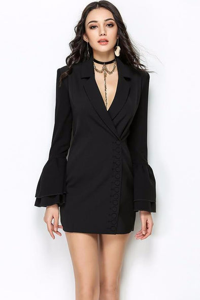 Slim Trench Black V-Neck Single Breasted Petal Jacket | TeresaClare