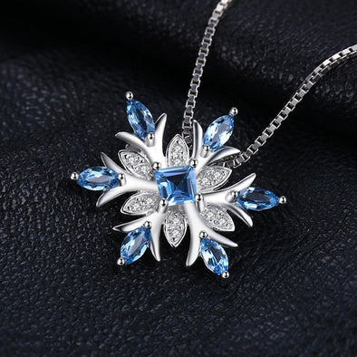 Snowflake Swis Blue Topaz Solid 925 Sterling Silver Pendant | TeresaClare