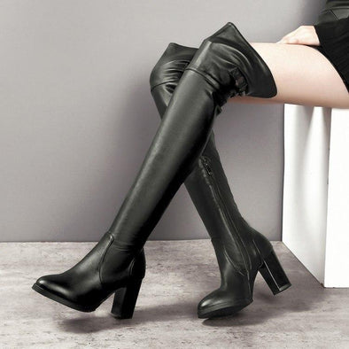 Soft Leather Over The Knee Sexy High Heel Boots | TeresaClare