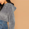 Solid Drop Shoulder Crop Teddy Hoodie Sweatshirt | TeresaClare