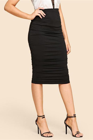 Solid Elastic Waist Tight Sexy Black Skirt | TeresaClare