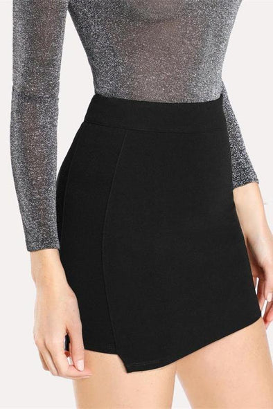 Solid Knit Bodycon Black Mid Waist Above Knee Plain Skirt | TeresaClare