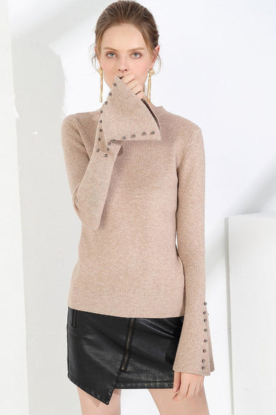 Solid Pullovers Slim O-neck Beading Knitted Sweater | TeresaClare