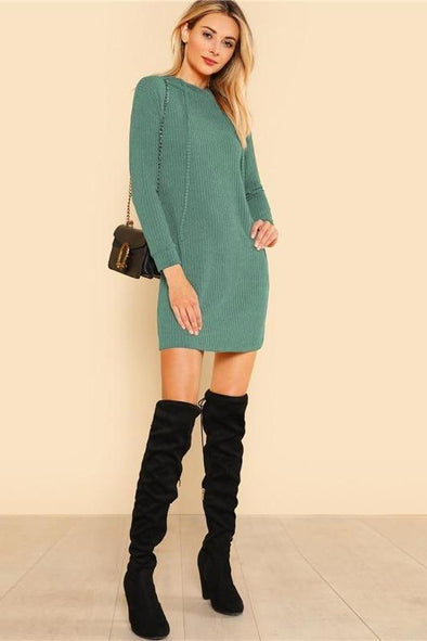Solid Rib Knit Hoodie Dress Casual Long Sleeve Sweater | TeresaClare