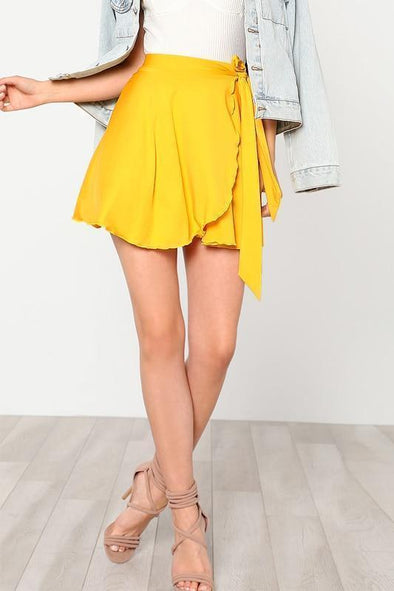 Solid Yellow Elastic Waist Self Belted Overlap Skirt | TeresaClare