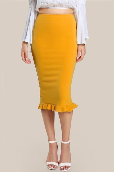 Split Ruffle OL Pencil Women Yellow Sexy Slim Skirt | TeresaClare