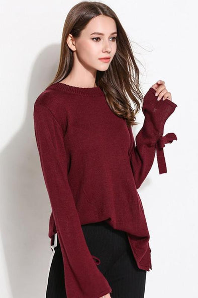 Split Sleeve Knitted Pullover Sexy O-Neck Sweater | TeresaClare