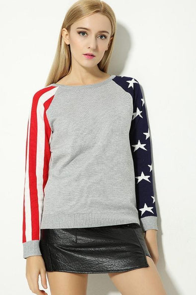 Stars Striped Patchwork Long Sleeve Pullovers Sweater | TeresaClare