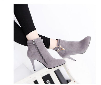 Stiletto High Heels Pointed Toe Faux Leather Ankle Boots | TeresaClare