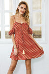 Strap Cold Shoulder Polka Dot Backless Casual Mini Dress | TeresaClare