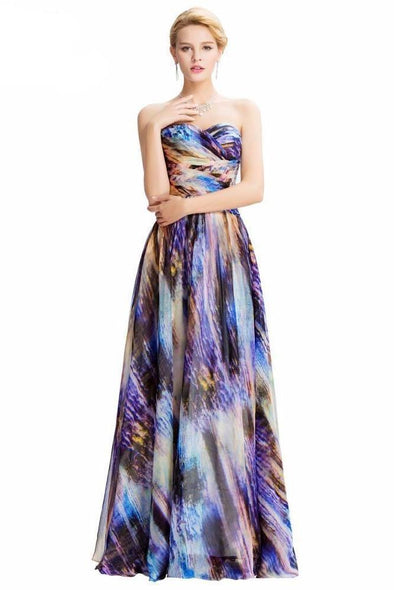 Strapless Colorful Rainbow Long Evening Dress | TeresaClare