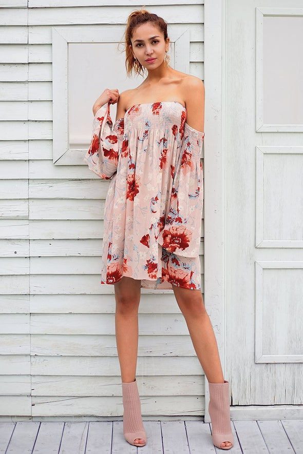 Strapless Floral Print Off Shoulder Short Fashion Dress | TeresaClare