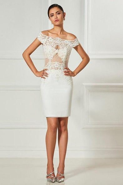 Strapless Ivory Lace Beaded Knee Length Sheath Cocktail Dress  6fe67d34b