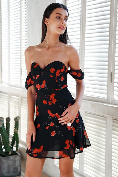 Strapless Off Shoulder Chiffon Floral Print Mini Dress | TeresaClare