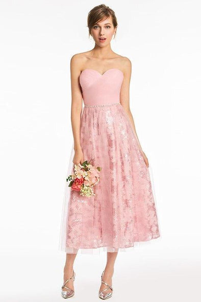 Strapless Pink Bead Sleeveless Tea Length Evening Dress  74de92f39