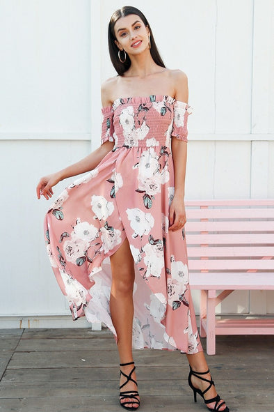 Strapless Summer Style Long Elastic Floral Maxi Dress | TeresaClare