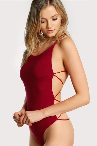 Strappy Backless Sexy Basic Bodysuit With Cross Back | TeresaClare