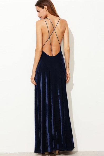 Strappy Backless Wrap Velvet Maxi Deep V Neck Fashion Dress | TeresaClare