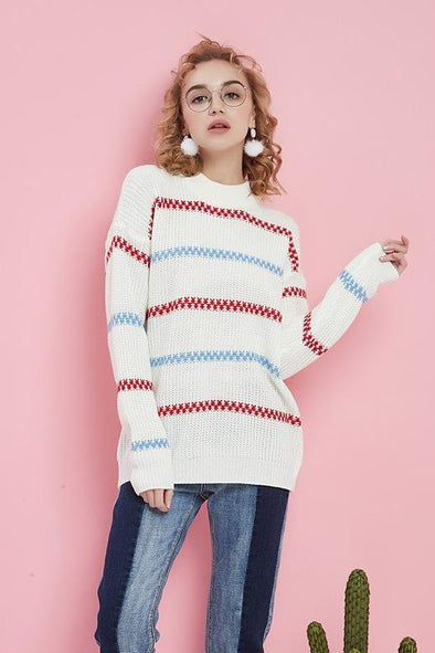Striped Printed Knitted Pullovers Long Sleeve Loose Sweater | TeresaClare