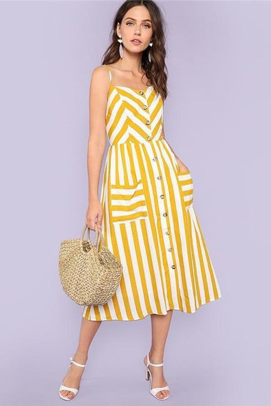 Striped Spaghetti Strap High Waist Mid-Calf Fashion Dress | TeresaClare