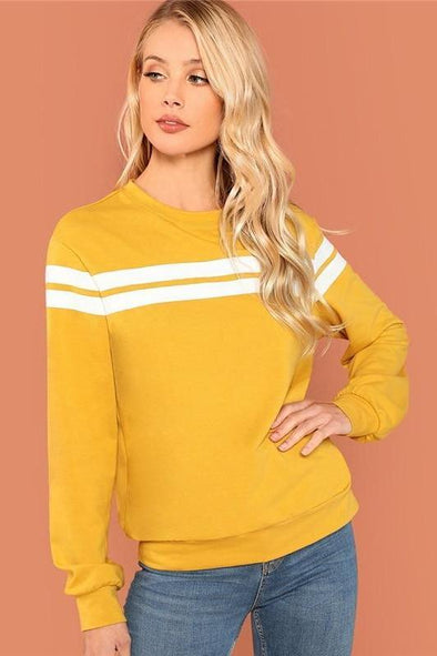 Striped Tunic Pullovers Casual Streetwear Round Neck Sweater | TeresaClare