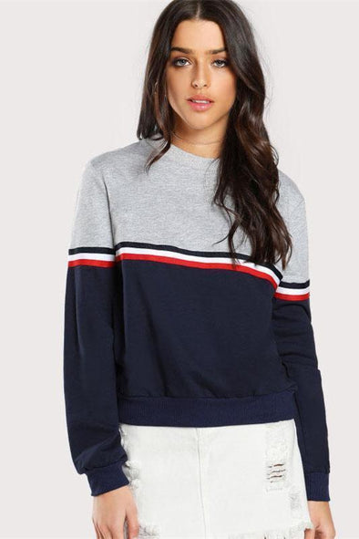 Striped Woven Tape Detail Two Tone Sweatshirt | TeresaClare