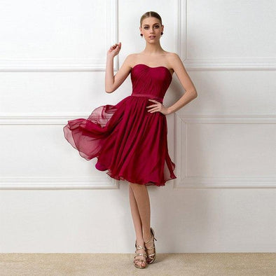Style 01 A-Line Pleats Burgundy Sleeveless Knee-Length Evening Dress | TeresaClare