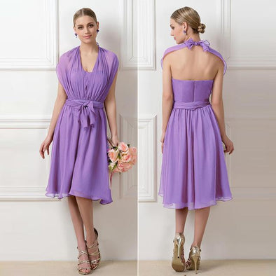 Style 01 A-Line Ruched Dark Lilac Sleeveless Knee-Length Evening Dress | TeresaClare