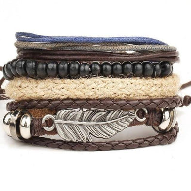 Style 5 4pcs 1 Set Punk Genuine Wrap Wide Leaf Leather Bracelets | TeresaClare