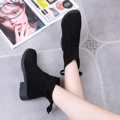Suede Ankle Boots Round Toe Stretch Fabric | TeresaClare
