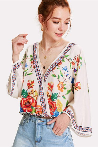 Surplice Neckline Florals V Neck Long Sleeve Blouse | TeresaClare