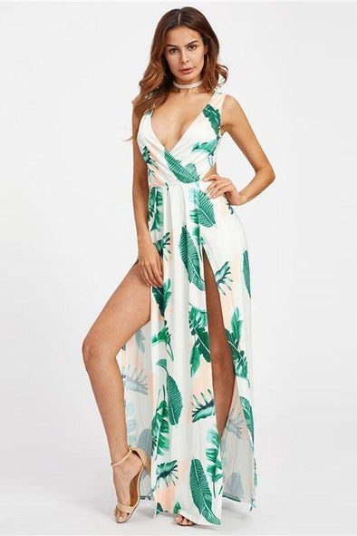 Surplice Neckline Open Back M-Slit Palm Leaf Print Fashion Dress | TeresaClare