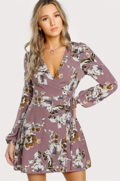 Surplice Wrap Floral Multicolor A Line Fashion Dress | TeresaClare