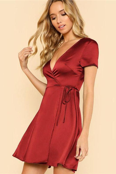 Surplice Wrap Solid Burgundy Deep V Neck Fashion Dress | TeresaClare