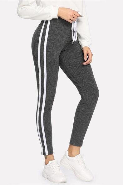 Sweatpants Women's Gray Striped Drawstring Waist Pants | TeresaClare
