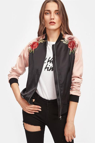 Symmetric Embroidery Patch Contrast Raglan Sleeve Jacket | TeresaClare