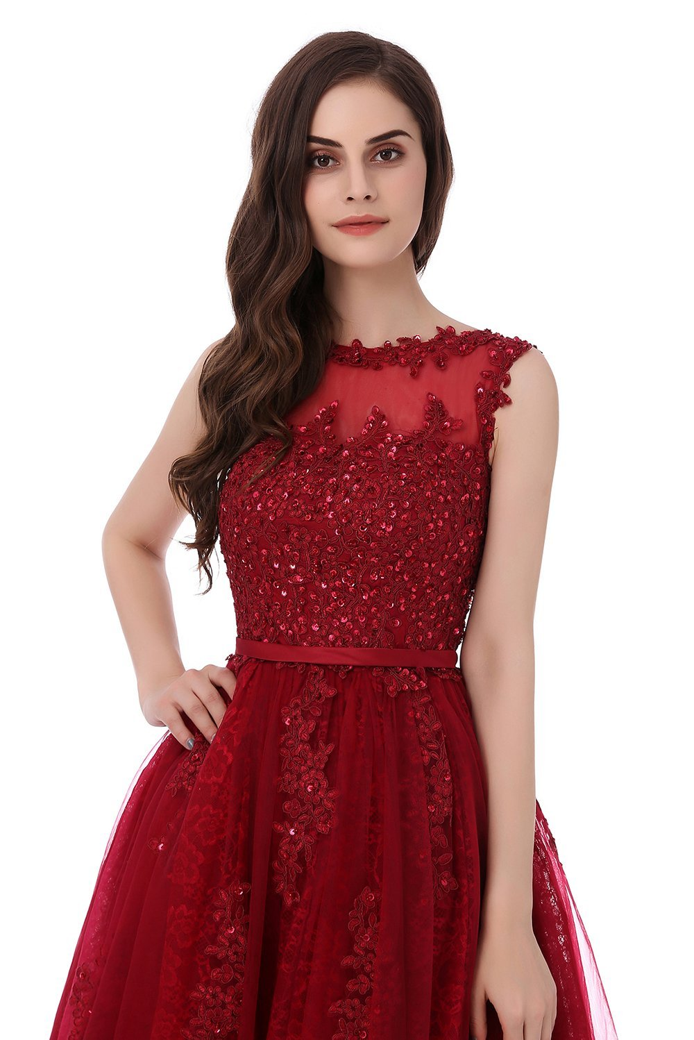 Tea-Length Ball Gown Scoop Neck Cocktail Dress With Crystals On Sale ... ec04559ba