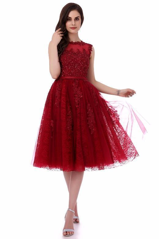 Tea-Length Ball Gown Scoop Neck Cocktail Dress With Crystals ...
