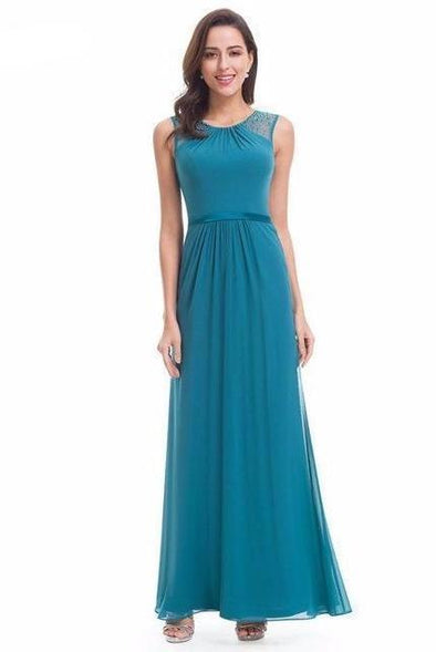 Teal Empire Sleeveless Ankle-Length Prom Dress With Lace | TeresaClare