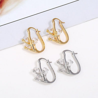 Tiny Crystal Branch Stud Earrings Gold Silver Color | TeresaClare