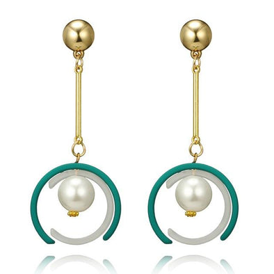 Trendy Elegant Gold Color Simulated Pearl Long Earrings | TeresaClare
